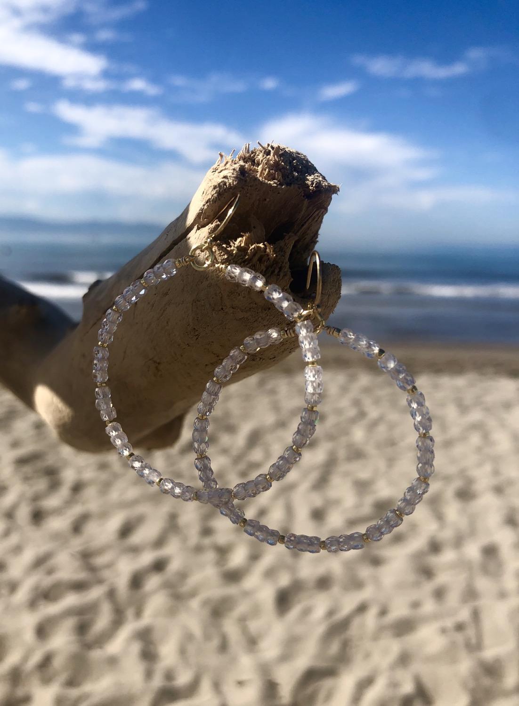 Thumbnail: Cubic Zirconia Hoop Earrings