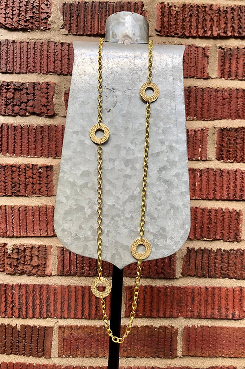 Gold Textured Circle Necklace