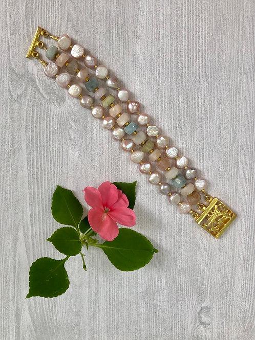 Peruvian Opal and Pearl Bracelet