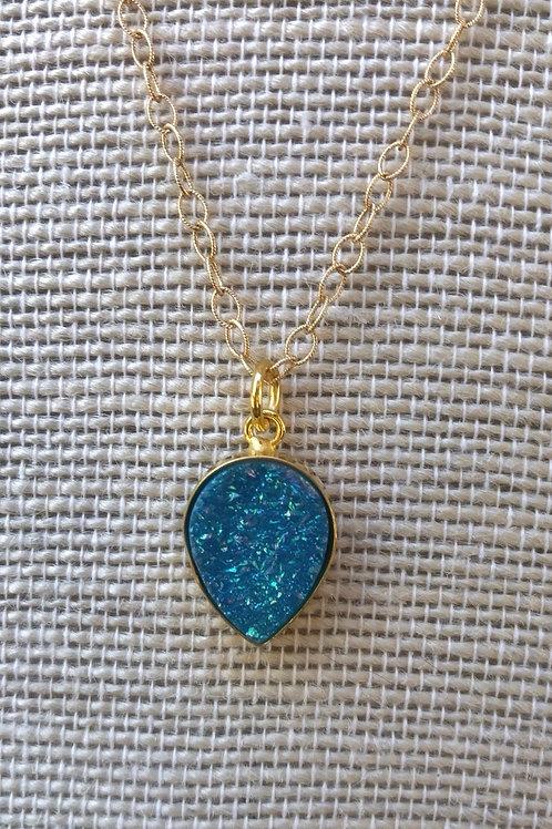 Ocean Blue Druzy Necklace
