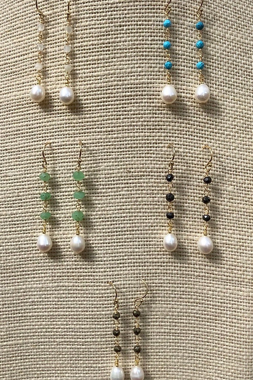 Gemstone and Pearl Drop Earrings