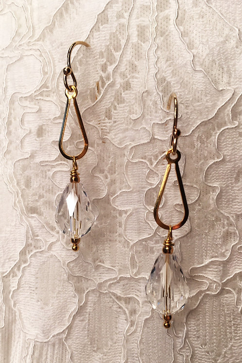 Crystal Teardrop Open Drop Earrings