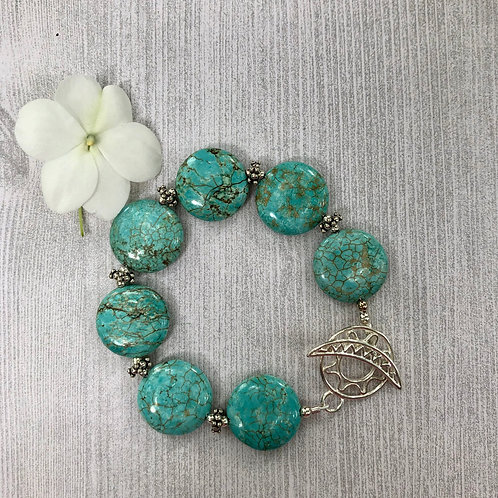Sun and Moon Sterling and Turquoise Bracelet