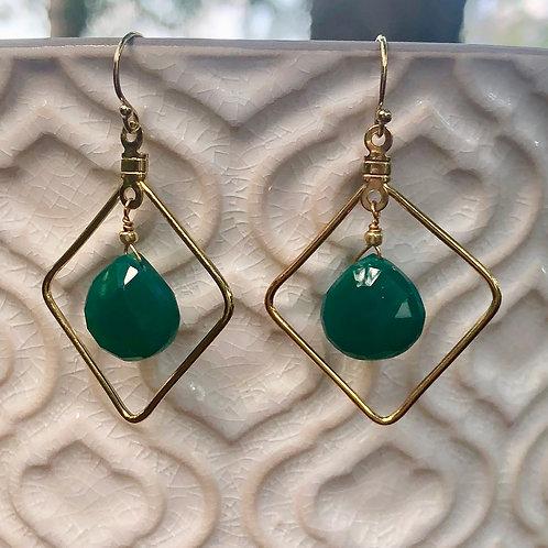Dark Green Onyx Earrings