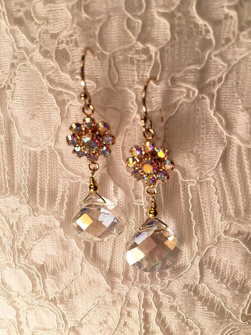 Swarovski Crystal Flower + Crystal Teardrop Earrin