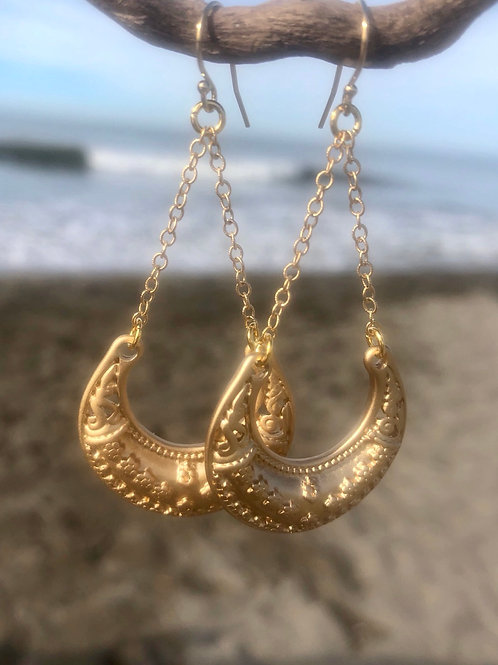 Gold Chain and Crescent Earrings