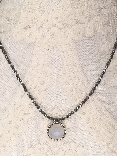 Moonstone pendant on pyrite beaded necklace
