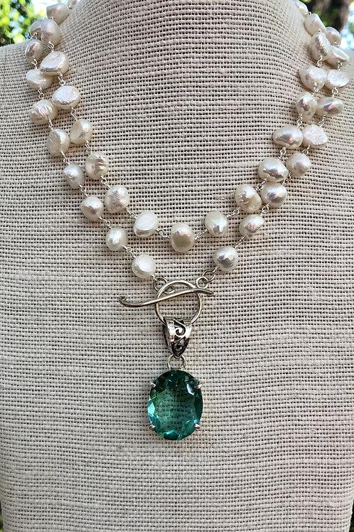 Aqua Quartz and Freshwater Pearl Necklace