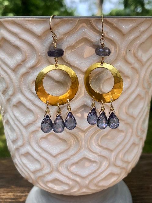 Blue Quartz and Iolite Earrings