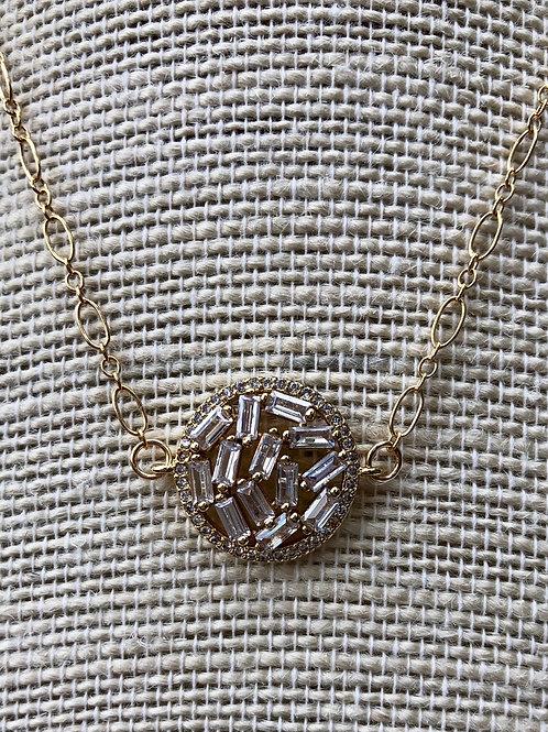 Cubic Zirconia Baguette Pendant Necklace