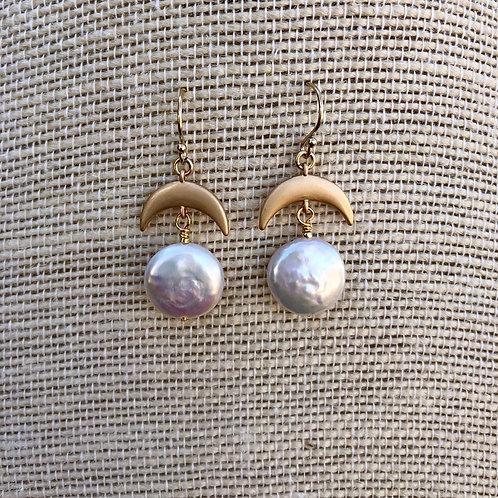 Coin Pearl Moon Earrings
