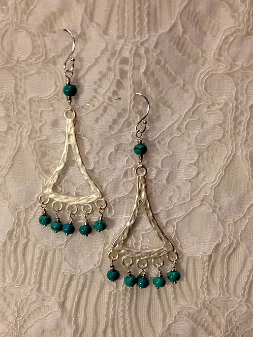 Turquoise Magnesite Drops on Silver Frame