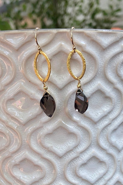Smoky Quartz Helix Drop Earrings