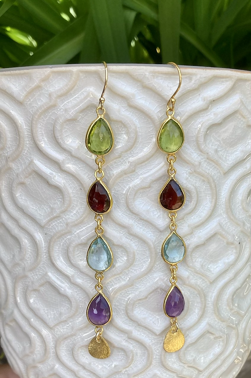 Bezeled Gemstone Drop Earrings