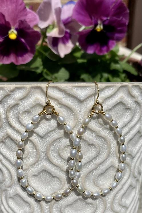 Seed Pearl Elongated Hoop Earrings
