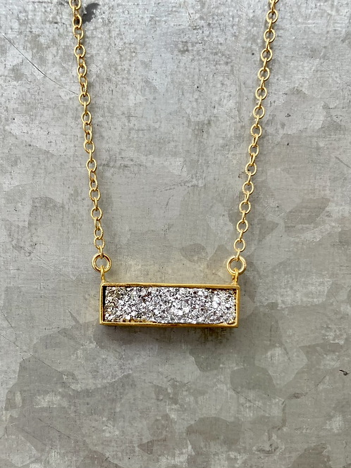 Silver Druzy Rectangle Necklace