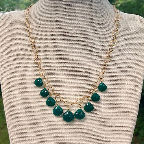 Dark Green Onyx Drop Necklace