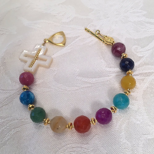 Multicolored Rosary Bracelet