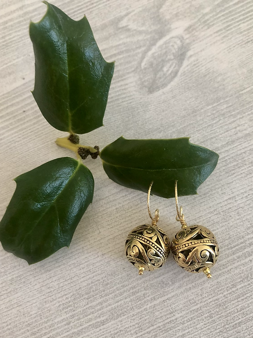 Antique Gold Globe Earrings