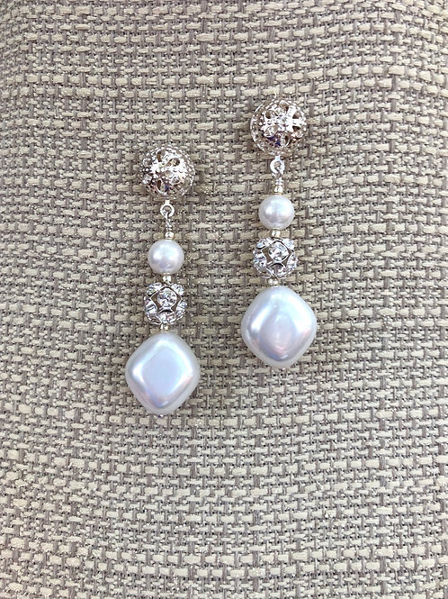 Crystal and Pearl Post Earrings