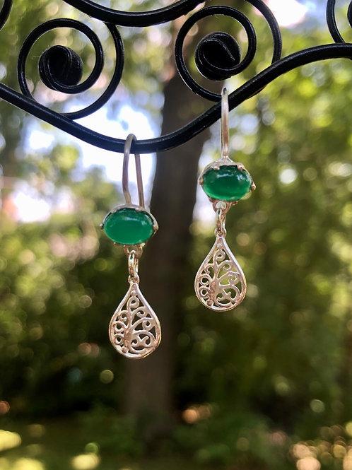 Green Onyx Sterling Teardrop Earrings