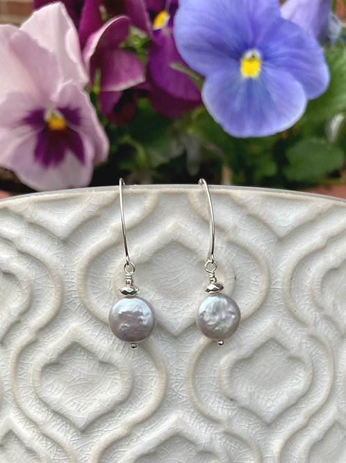 Silver Coin Pearl Earrings