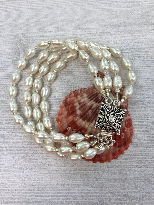 Rice Pearl and Sterling Bracelet