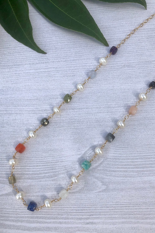 Mixed Gemstone Cubes and Pearl Necklace