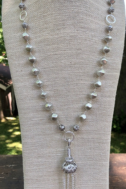 Silver Shell Pearl and Tassel Necklace