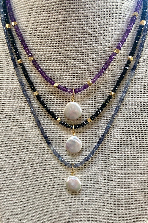 Coin Pearl Gemstone Necklaces