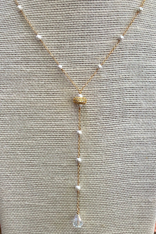 Pearl and Crystal Y Necklace