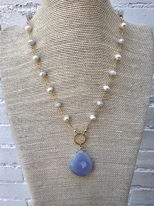 Blue Lace Agate, Moonstone and Pearl Necklace