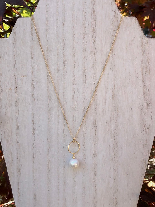Pearl and Ring Drop Necklace
