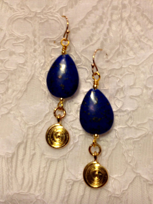 Lapis Blue with Gold Toned Spirals