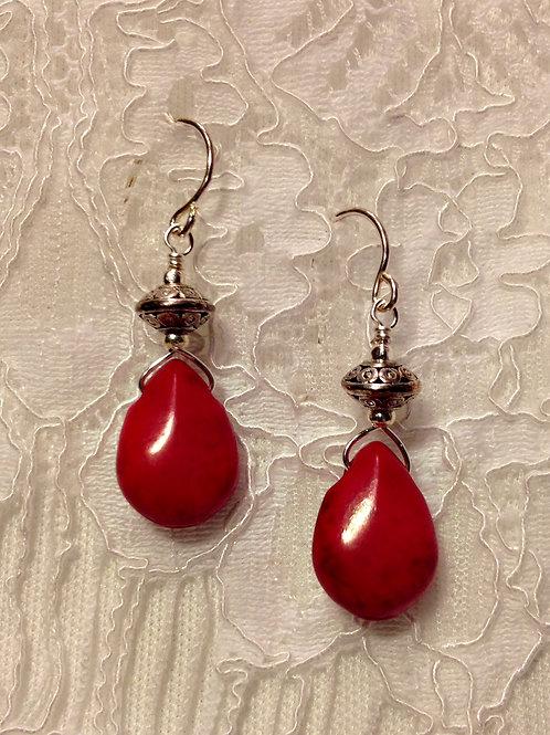 Cardinal Red Howlite Drop Stones