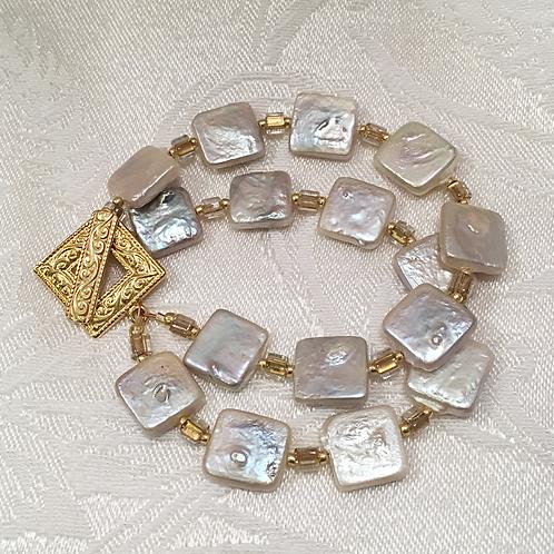 Square Freshwater Pearl Bracelet