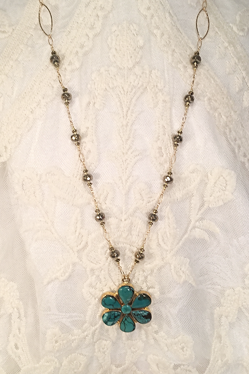 Turquoise Flower Pendant Necklace