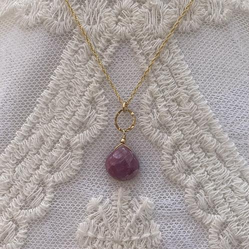 Natural Pink Sapphire Drop Necklace