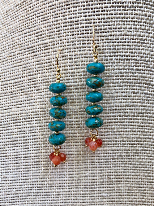 Turquoise Emperor and Agate Earrings