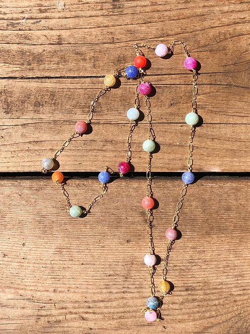 Colorful Agate Chain Necklace