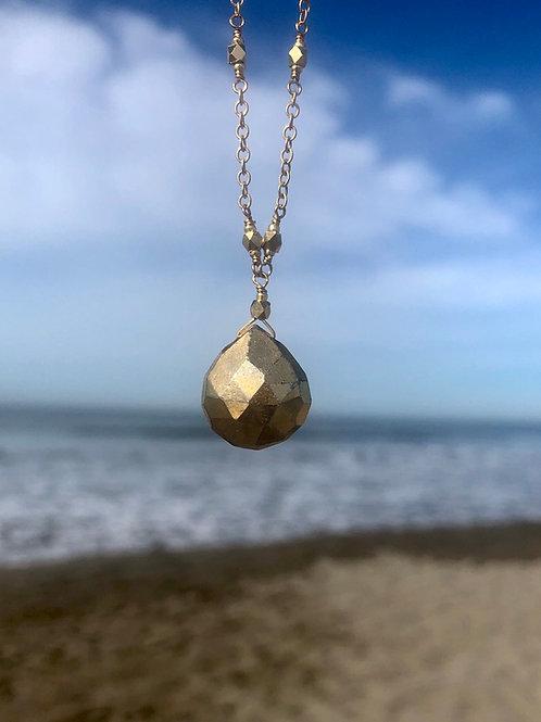 Pyrite Drop Necklace