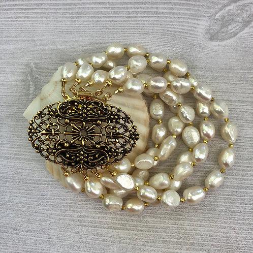 Multi Strand Rice Pearl Bracelet