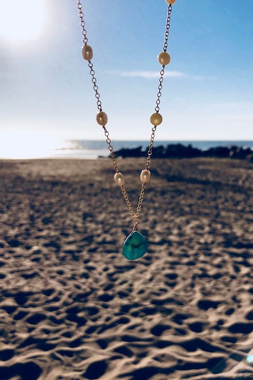 Pearls and turquoise drop necklace