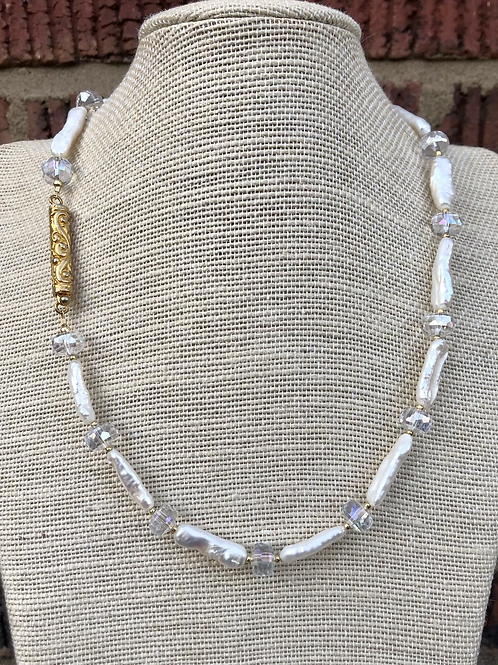 Stick Pearl and Crystal Necklace