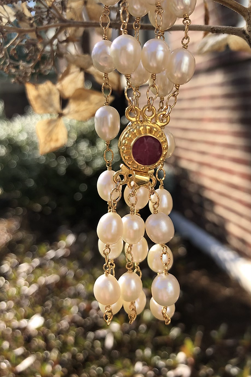 Pink Ruby and Pearl Bracelet