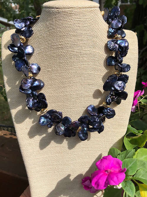Midnight  Blue Keshi Pearl Necklace