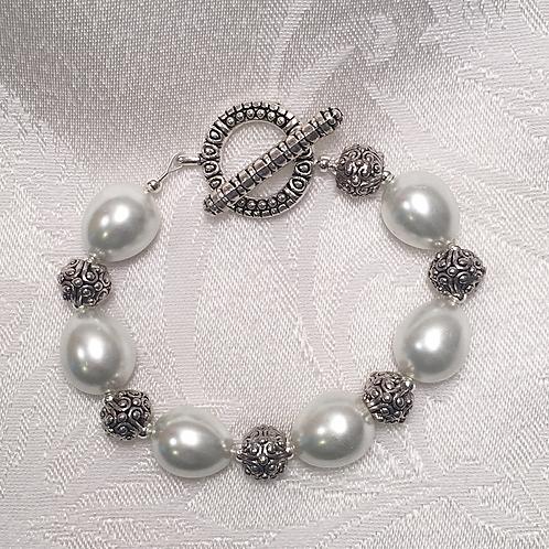 Chunky Pearl Silver Bracelet