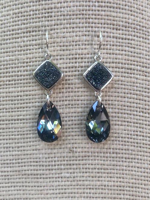 Dark Gray Druzy and Swarovski Drop Earrings