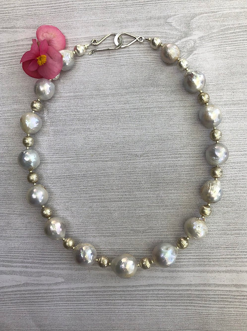 Baroque Pearl and Silver Necklace