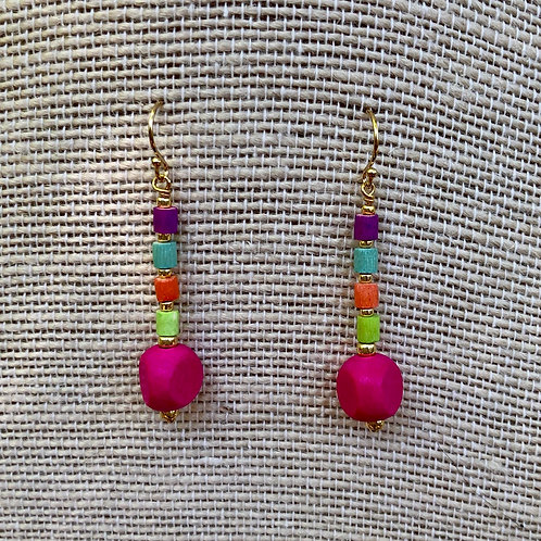 Bright Wood Bead Earrings